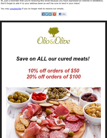 Up to 20% Off Italian Cured Meats