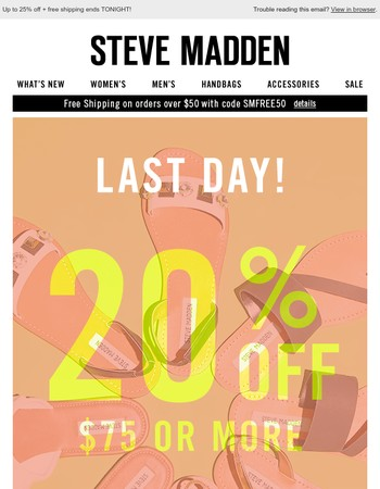 Final hours: up to 25% off + free shipping!
