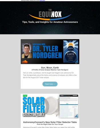 The Equinox (June 2017) - Solar Eclipse Checklist | Solar Filter Selection Table | An Interview with Dr. Tyler Nordgren