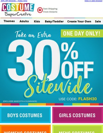 30% Off Flash Sale -  Today Only