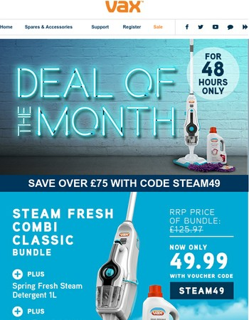 Deal of the month: £75 off steamer bundle, 48 hours only
