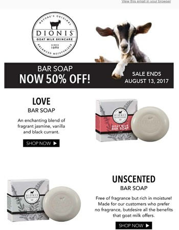 Clean Up With DIONIS Bar Soap Sale