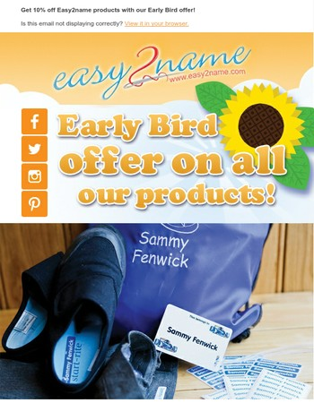 Early Bird offer! Personalised labels with 10% off