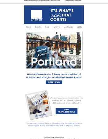 Win a dream trip for two to Portland✈+ LATHER shopping spree