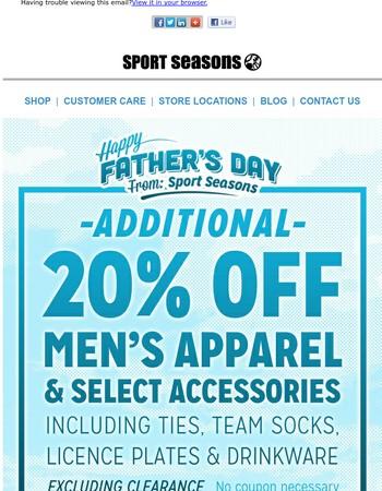 20% Off Dad's Favorite Stuff!