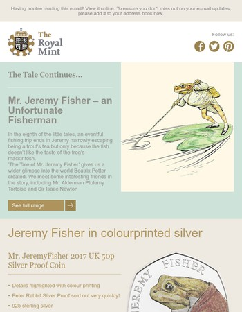 New Jeremy Fisher Silver Proof 50p Coin