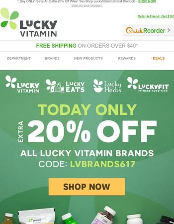 Save 20% Off LuckyVitamin Brands!