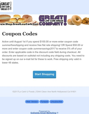 Great Low Carb Bread Company Coupon Codes 6/14/2017