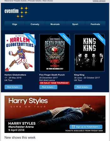 Harry Styles, Harlem Globetrotters, Five Finger Death Punch, King King and loads more...
