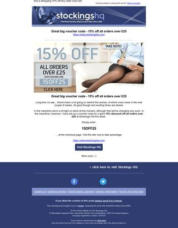 Big voucher code savings this week at Stockings HQ