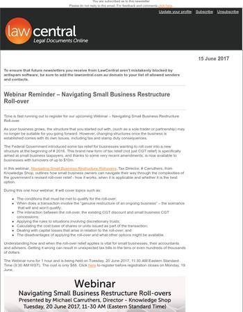 Webinar Reminder – Navigating Small Business Restructure Roll-over