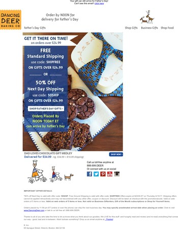 ORDER BY NOON for Father's Day Delivery!