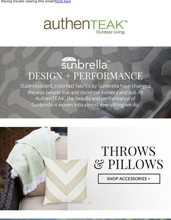 Discover the beauty of Sunbrella and Save on Outdoor Curtains at AuthenTEAK