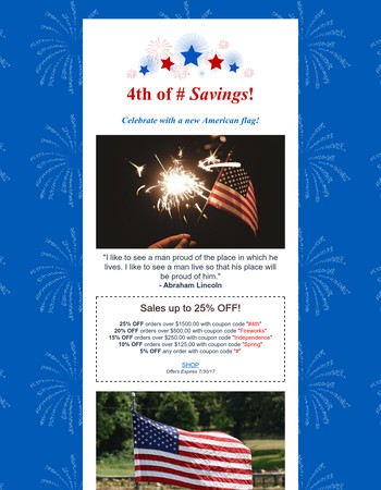 Save up to 25% OFF this 4th of July!