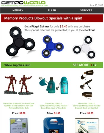 Memory Products - Blowout Specials with a spin!