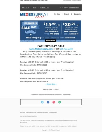 Father's Day Weekend Sale Starts Now at MedexSupply!