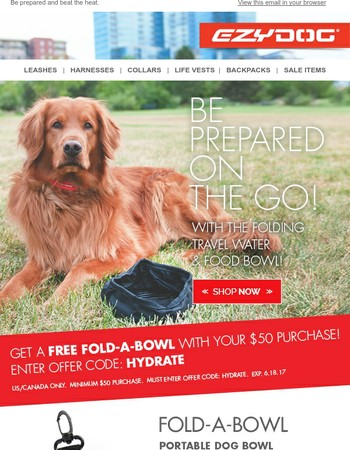 Keep Your Pup Hydrated with a Free Fold-A-Bowl!