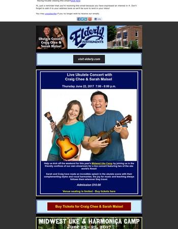 Live Ukulele Concert with Craig Chee & Sarah Maisel 6-22-17