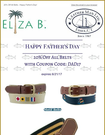 Happy Father's Day - 20% Off Belts