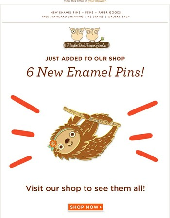 Sloths and horses and foxes, oh my! New enamel pins are here…