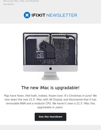 Holy moly: The new iMac is upgradable!