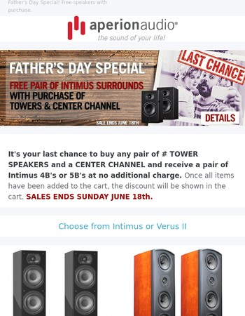 Free Speakers for Father's Day Ends Sunday