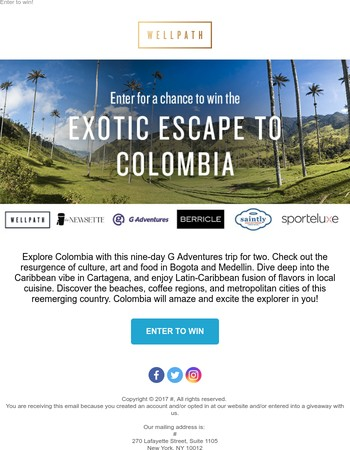 win a 9-night trip to Colombia!