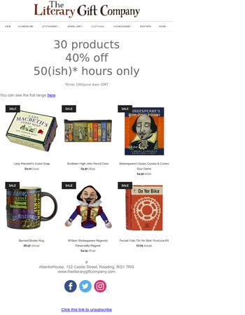30 products, 40% discount, only for 50 hours at The Literary Gift Company
