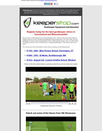 Goalkeeper Summer Clinics, GK Showcase, and Glove Reviews