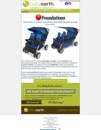 Save 20% On Select Foundations Strollers