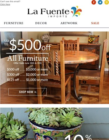 2 Days Only - Up to $500 off Furniture + 10% Off Art and Decor