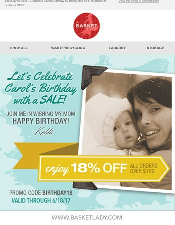 Last Day to Save and Celebrate the Basket Lady's Birthday with 18% Off! | The Basket Lady