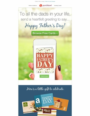 REMINDER: Send free Father's Day cards + include a gift card he'll love!