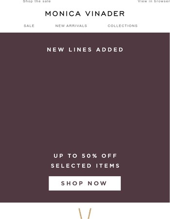 Sale | New Lines Added