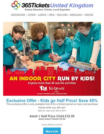 Shh! KidZania London Exclusive Offer! Save Up to 45%