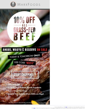 Get 10% Off All Grass-Fed Beef Today & Tomorrow!!