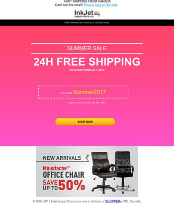 Hurry! This FREE SHIPPING only lasts for 24 hours