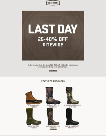 25-40% Off Ends Tonight