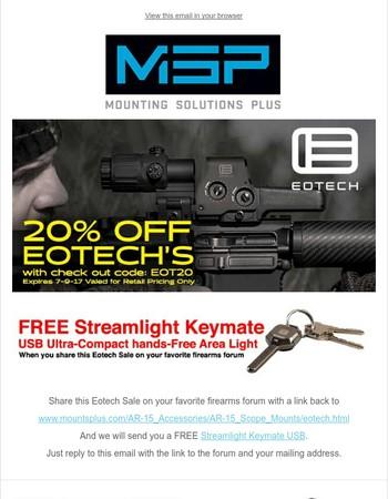 20% OFF Eotech & FREE Streamlight Keymate offer