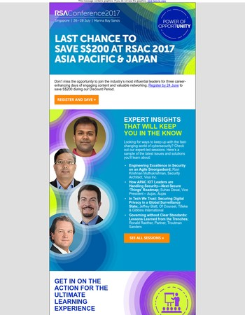 Act now to save S$200 on RSAC 2017 APJ!