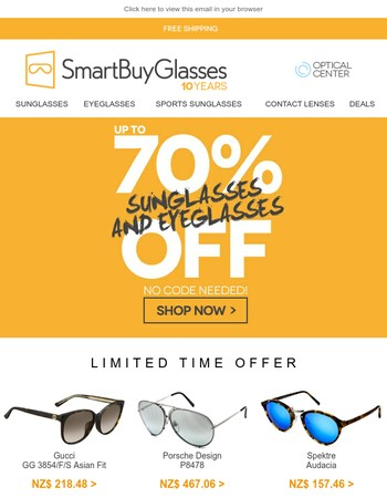 Up to 70% off the greatest Eyewear brands!