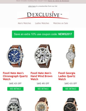 July Save and extra 10% on Fossil Watches