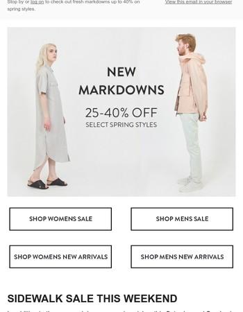 First Markdowns of the Season / Sidewalk Sale this Weekend