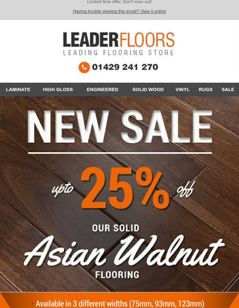 Price cut on our Luxury Solid Asian Walnut!