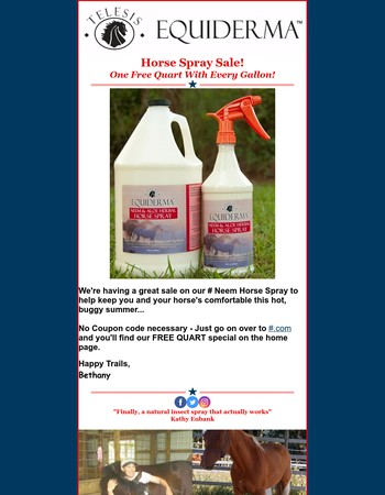 Buy a Gallon of Equiderma Neem Fly Spray & Get a Quart Free