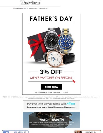 Give the Gift of Time This Father's Day
