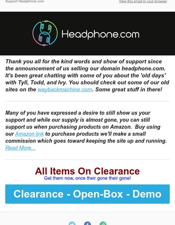 Everything On Clearance, Support Headphone.com