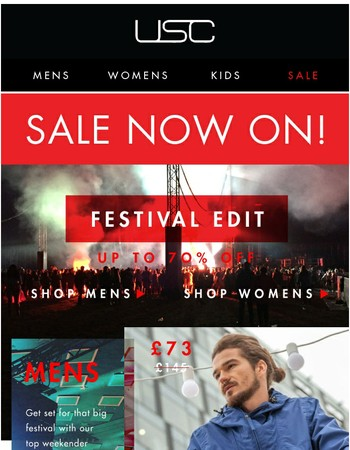 Festival Essentials - Up to 70% OFF!