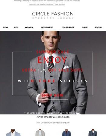 Enjoy extra 15% off Suits
