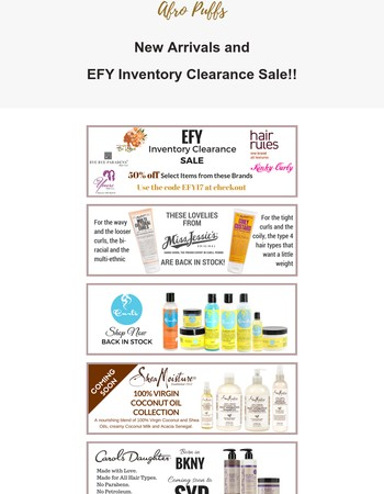 New Arrivals and EFY Inventory Clearance Sale